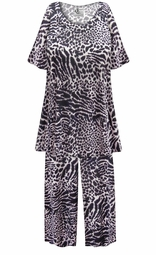 SALE! Customizable Plus Size Black & Gray Animal Print 2 Piece Pajama Pant Set 0x 1x 2x 3x 4x 5x 6x 7x 8x 9x