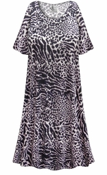 SALE! Customizable Plus Size Black & Gray Animal Print Sleep Gown - Muumuu - Moo Moo Dress 0x 1x 2x 3x 4x 5x 6x 7x 8x 9x