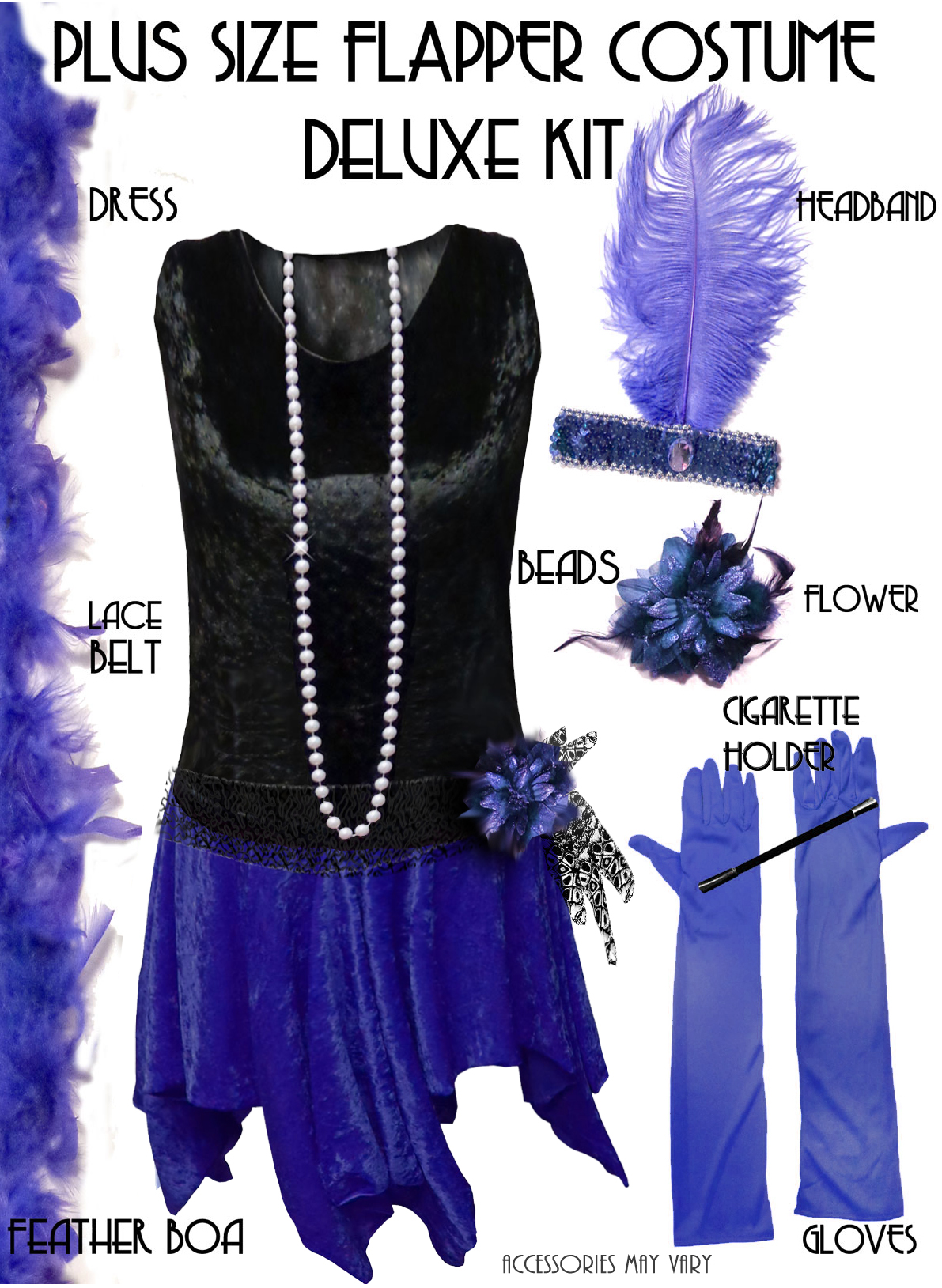 SALE! Plus Size Roaring 20\'s Black & Blue Flapper Halloween ...