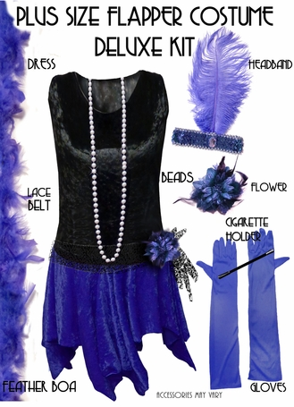 SALE! Plus Size Roaring 20's Black & Blue Flapper Halloween Costume - Plus Size & Super Size Lg XL 1x 2x 3x 4x 5x 6x 7x 8x 9x