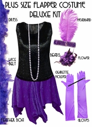 SALE! Plus Size Flapper Costume Black & Purple Roaring 20's Halloween Costume Kit Plus Size & Supersize Lg XL 0x 1x 2x 3x 4x 5x 6x 7x 8x 9x