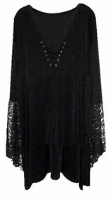 SALE! Plus Size Gothic Witch Bell Sleeve Extra Long Shirt - Halloween Costume