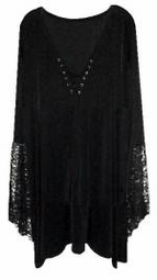 SALE! Plus Size Gothic Witchy Bell Sleeve Extra Long Shirt Supersize Halloween Costume Lg XL 0x 1x 2x 3x 4x 5x 6x 7x 8x 9x