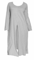 Plus Size Gray Cotton/Rayon Jersey Slit Front Tunic 4x
