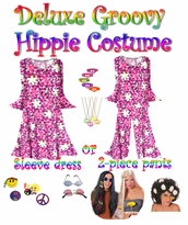 SOLD OUT! SALE! -- PINK AND WHITE FLORAL -- Select Sizes ONLY! -- Plus Size Hippie Costume Groovy 60's Style Retro Moo-Moo Dress or Top & Bell-Bottom Pant Set Plus Size & Supersize Hippie Halloween Costume Kit -Select Sizes Only!!-