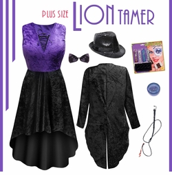 SALE! Sexy Plus Size Ringmaster Lion Tamer / Animal Trainer Costume - Black & Purple Plus Size & Supersize  Lg XL 1x 2x 3x 4x 5x 6x 7x 8x 9x