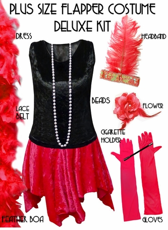SALE! Plus Size Roaring 20's Flapper Costume Black & Red Halloween Costume Kit Plus Size & Supersize Lg XL 1x 2x 3x 4x 5x 6x 7x 8x 9x