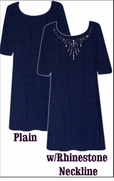 Plus Size & Super Size Black, Navy, Purple or White Cotton, Slinky or Velvet Tunic Top Shirt Lg XL 0x 1x 2x 3x 4x 5x 6x 7x 8x 9x