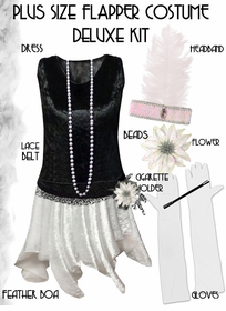 SALE! Plus Size Roaring 20's Black & White Flapper Costume - Plus Size & Supersize Lg XL 1x 2x 3x 4x 5x 6x 7x 8x 9x