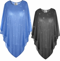 SALE! Sparking Glittery Black or Blue Sheer Plus Size Supersize Poncho