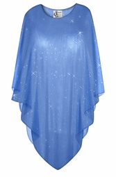 Sparking Glittery Blue Sheer Plus Size Supersize Poncho
