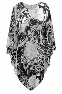 SALE! Plus Size Japanese Garden Print Sheer Poncho