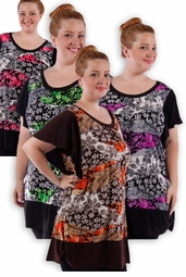 SALE! Pretty Black Pink Gray Green Slinky Print Plus Size Tops! 4x