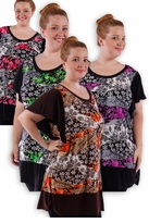 SALE! Pretty Black Pink Gray Green Slinky Print Plus Size Tops! 4x 5x 6x