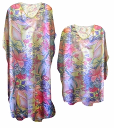SOLD OUT!!!!!!!!!! Pretty Pastel Tropics Print Poly/Satin Plus Size & Supersize Caftan Dress or Shirt 1x to 6x