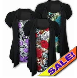 SOLD OUT! Sale! Pretty Pretty! Mock 2 Piece Slinky Tops! Black and Red! Plus Size Shirts 4x