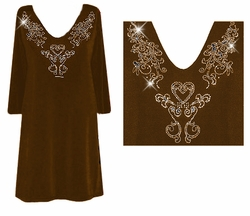 SOLD OUT! Pretty Dark Brown Solid Color Slinky Plus Size Rhinestone Neckline Shirts Lg