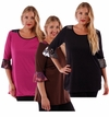 SALE! Pretty Slinky & Chiffon Trim Plus Size Slinky Tops Black Brown Pink 4x 5x