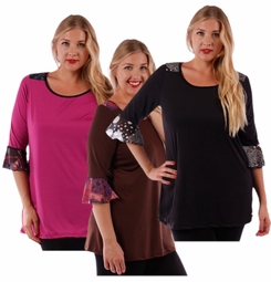 SALE! Pretty Slinky & Chiffon Trim Plus Size Slinky Tops Black Brown Pink 4x 5x 6x