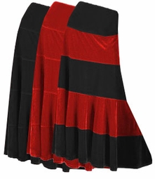Pretty Solid or Multi Black Red & White Plus Size Elastic Waist Crush Velvet Tiered Skirt Lg-9x