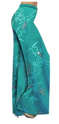 SOLD OUT! Pretty Teal Bamboo Slinky Print Special Order Customizable Plus Size & Supersize Pants, Capri's, Palazzos or Skirts! Lg to 9x