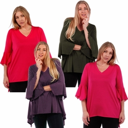 SALE! Plus Size Black, Olive, Magenta, Red, Purple or Brown Top with Bell Sleeves 4x 5x 6x
