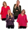 SALE! Plus Size Black, Olive, Magenta, Red, Purple or Brown Top with Bell Sleeves 4x 5x