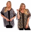 CLEARANCE SALE! Black or Olive Print Chiffon Top Plus Size  5x