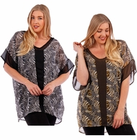 SALE! Black or Olive Print Chiffon Top Plus Size  4x 5x 6x