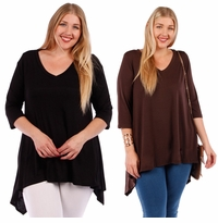 SALE! Solid Color Sharkbite Hem Top Plus Size 4x 5x 6x