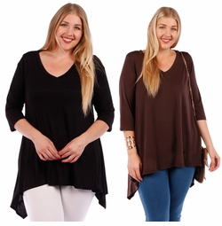 SALE! Solid Color Sharkbite Hem Top Plus Size 4x 5x