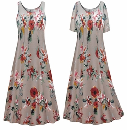 SALE! Customizable Mocha Floral Print Plus Size & SuperSize Princess Cut Poly/Cotton Jersey Dress 0x 1x 2x 3x 4x 5x 6x 7x 8x 9x