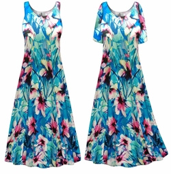 SALE! Customizable Plus Size Blue & Pink Floral Print Princess Cut Poly/Cotton Jersey Dress 0x 1x 2x 3x 4x 5x 6x 7x 8x 9x