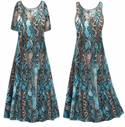 SALE! Customizable Plus Size Blue Python Print Princess Cut Poly/Cotton Jersey Dress 0x 1x 2x 3x 4x 5x 6x 7x 8x 9x