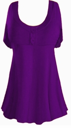 SALE! Plus Size Purple Poly/Cotton Mock Button Babydoll Short Sleeve Tops 1x 2x 3x 4x 5x 6x 7x 8x