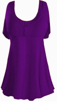 SALE! Purple Cotton Lycra Mock Button Top Plus Size & Supersize Short Sleeve Top 1x 2x 3x 4x 5x 6x 7x 8x