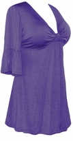 SALE! Purple Cotton Lycra Sexy Low-Cut Plus Size & Supersize Flutter Sleeve Top 1x 2x 3x 4x 5x 6x 7x 8x 9x