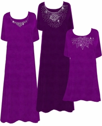Purple & Silver Slinky Princess Cut Rhinestone Plus Size Supersize Dresses 0x 1x 2x 3x 4x 5x 6x 7x 8x
