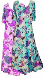 SOLD OUT! Purple with Silver Glimmer Butterfly  Princess Cut Short Sleeve Plus Size & Supersize Dresses 5x