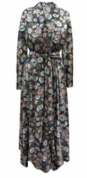 SALE! Plus Size Gray Daisies Light Weight Poly/Cotton Robe With Attached Belt Size 0x 1x 2x 3x 4x 5x 6x 7x 8x 9x