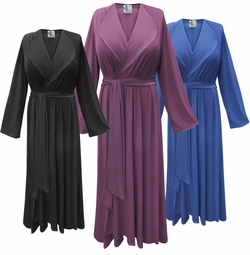 SALE! Solid Color Poly/Cotton Lapel Collar Robe With Attached Belt - Plus Size Supersize 0x 1x 2x 3x 4x 5x 6x 7x 8x 9x