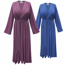 NEW! Solid Color Poly/Cotton Lapel Collar Robe With Attached Belt - Plus Size Supersize 0x 1x 2x 3x 4x 5x 6x 7x 8x 9x