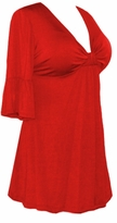 SALE! Red Cotton Lycra Sexy Low-Cut Plus Size & Supersize Flutter Sleeve Top 0x 1x 2x 3x 4x 5x 6x 7x