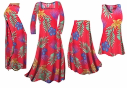 SOLD OUT! Red With Blue Tropical Flowers Slinky Print - Plus Size Slinky Dresses Shirts Jackets Pants Palazzo�s & Skirts - Sizes Lg to 9x