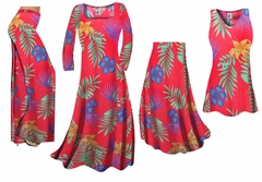 Red With Blue Tropical Flowers Slinky Print - Plus Size Slinky Dresses Shirts Jackets Pants Palazzo�s & Skirts - Sizes Lg to 9x