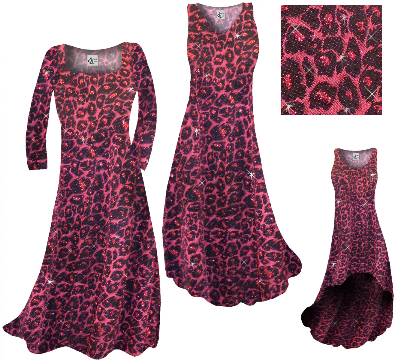 Sold Out Clearance Red With Hot Pink Glittery Leopard Slinky Print