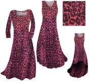 SOLD OUT! CLEARANCE! Red With Hot Pink Glittery Leopard Slinky Print Plus Size A-Line Dresses 6x