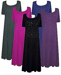 Rhinestone Princess Cut Plus Size & Supersize T-Shirt Dresses 0x 1x 2x 3x 4x 5x 6x 7x 8x