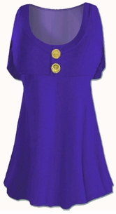 SEE jas-1655-blu Royal Blue Cotton Lycra Mock Button or Plain Top Plus Size & Supersize Short Sleeve Shirt 1x 2x 3x 4x 5x 6x 7x