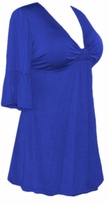 SALE! Royal Blue Cotton Lycra Sexy Low-Cut Plus Size & Supersize Flutter Sleeve Top 1x 2x 3x 4x 5x 6x 7x